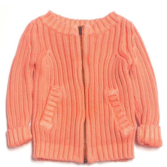 Peek Bright Coral Zip Knit Warm Sweater 3-6m
